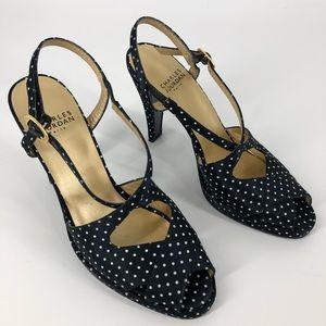 Charles Jourdan designer peep -toe heels